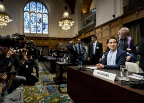 Aung San Suu Kyi looks on before the U.N.'s International Court of Justice on Wednesday in the Peace Palace of The Hague