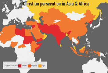Map of Christian Persecution in Asia & Africa